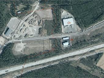 Ortofoto över området, ledig yta sydvästra hörnet