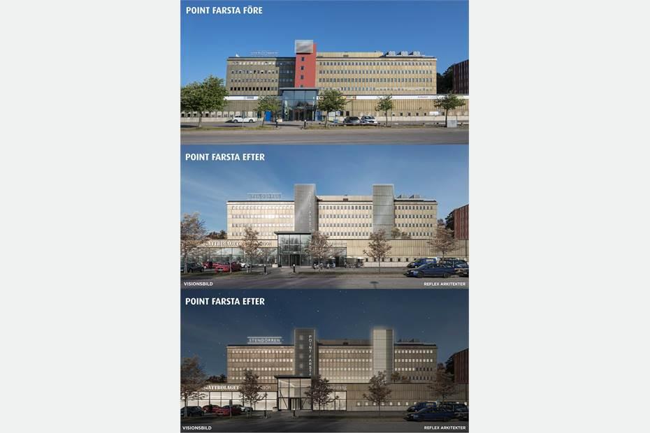 Point Farsta före och efter renovering