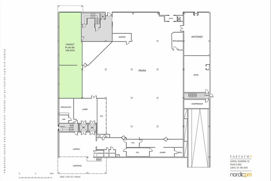 Planritning - 186 kvm butik