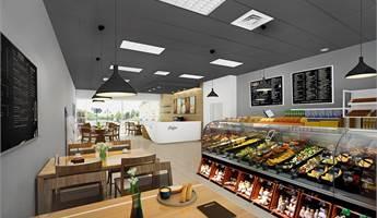 Visionsbild av butikslokalen som kafé