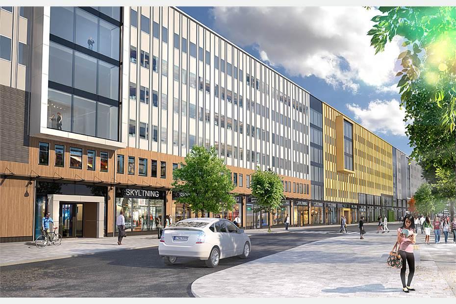 Visionsbild av Najadens fasad mot Rudsjöterrassen, efter ombyggnationen som startar 2016