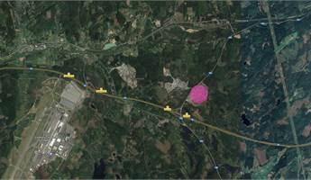 Se markerat rosa vart uppställningsytan är