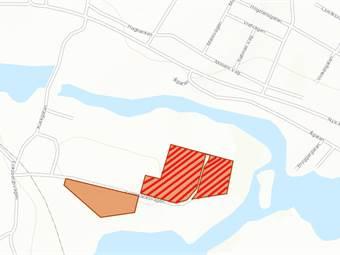 Karta över området. Annonsen gäller streckat område.