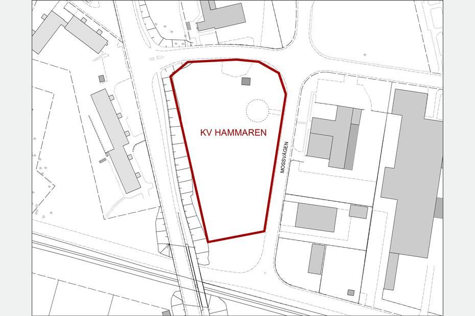 Tillgänglig mark för verksamheter i kvarteret Hammaren.