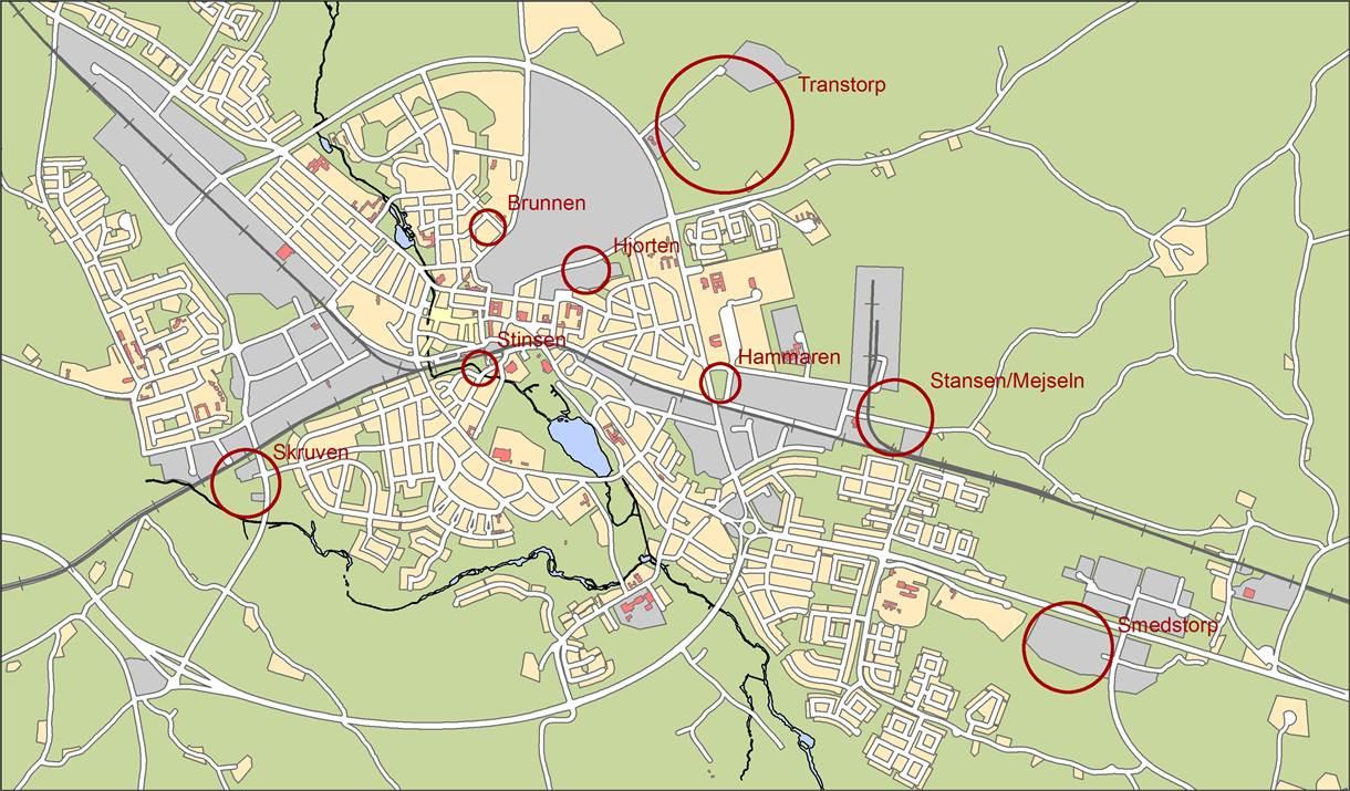 Översiktskarta för verksamhetsområden i Nybro stad.