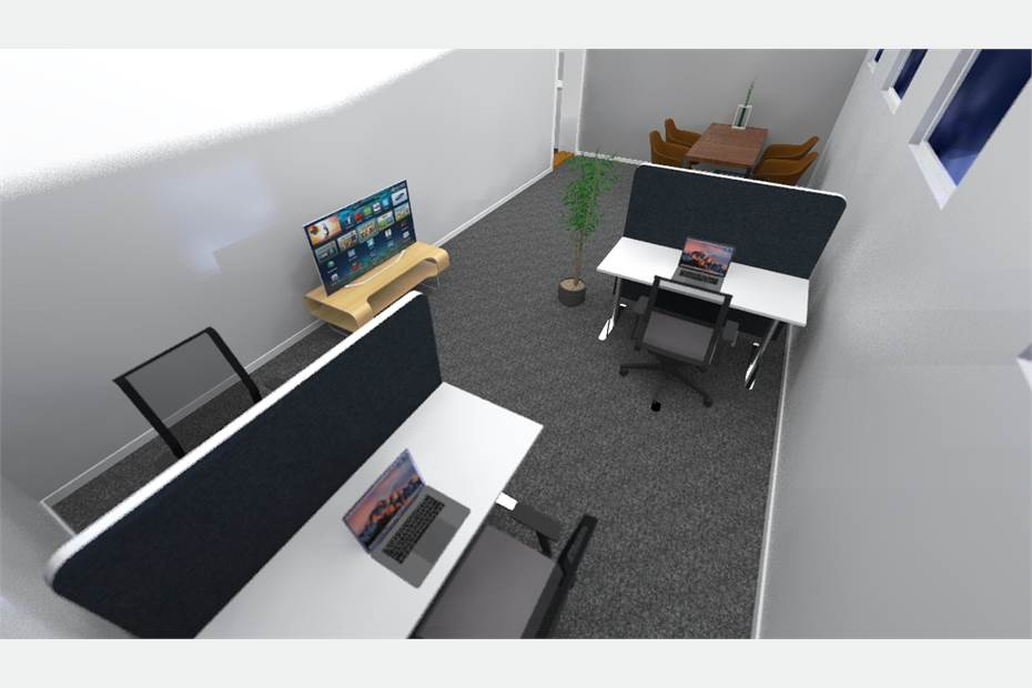 Förslag på stort kontorsrum.