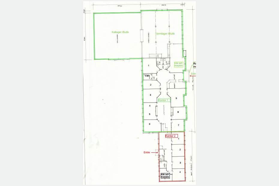 Planlösning kontor 1 Entreplan / kontor 2