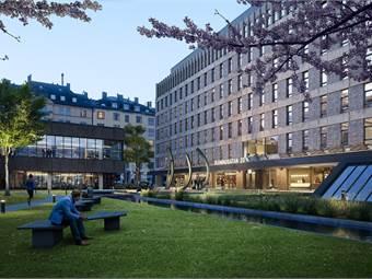 Fleminggatan 20 - pocket park, kvällsvy rendering