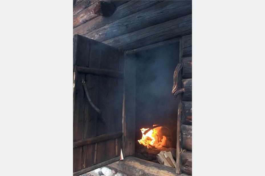 Eld i rökbastun, del av naturspa