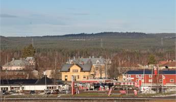 Vy med Kyrktjärn, Rv 50, OKQ8 stationen, Alfta