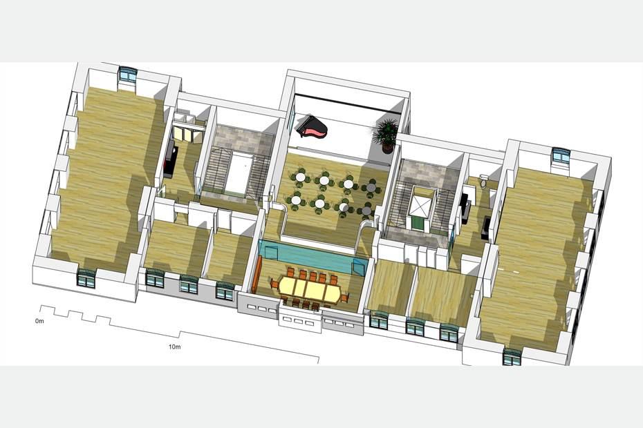 Planlösning avseende ett av fastighetens våningsplan