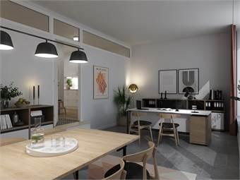 """Visionsskiss över hur kontorsdelen i denna 93 kvm """"bokal"""" kan nyttjas. Främre delen är kontor, genom dörren skymtas köket i den privata lägenheten."""