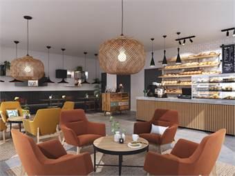 Visionsskiss över hur denna 92 kvm stora lokalen med fettavskiljare kan nyttjas som café.