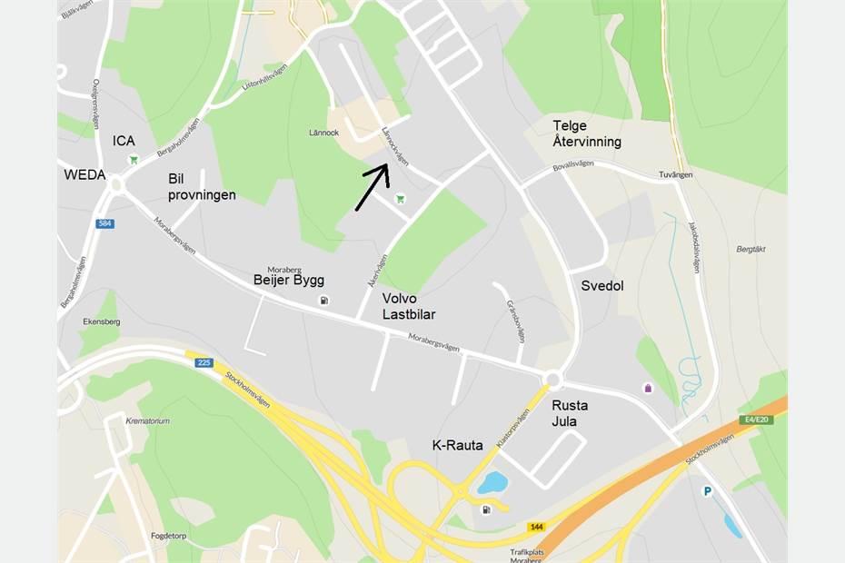 Lännockvägen 5, Morabergs industriområde, Södertälje - Butik Industri/Verkstad Lage