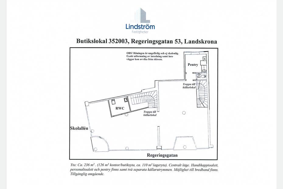 Planritning av kontor/butiksdelen
