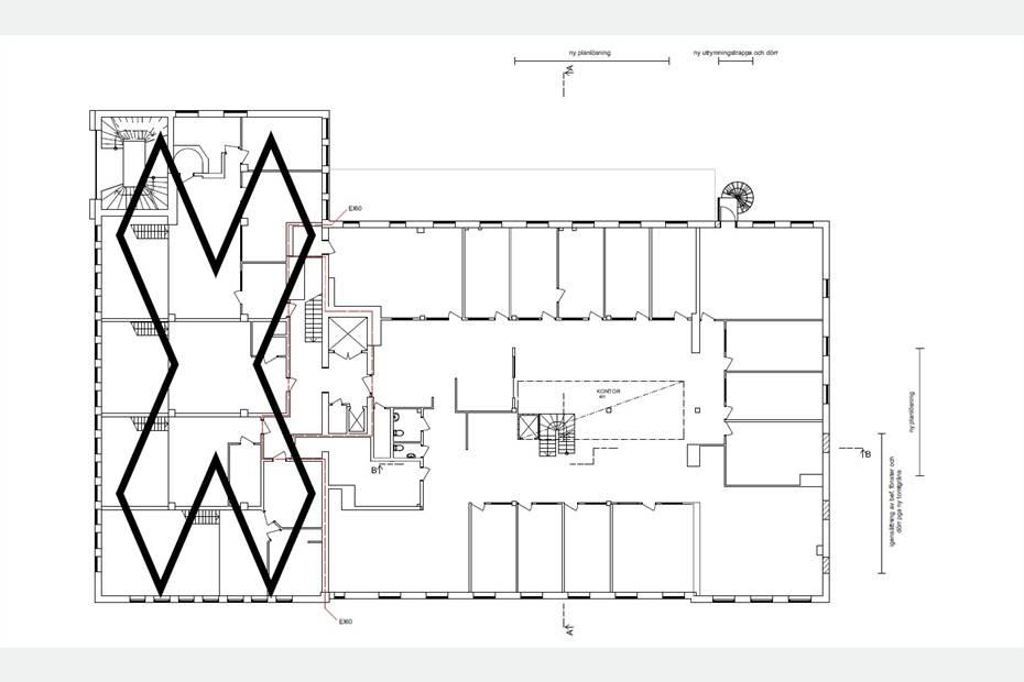 Planlösning - Existerande Våningsplan när Takvåningen är byggd