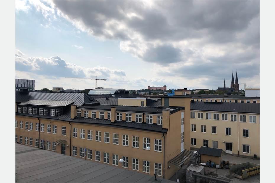 Utsikt över stan från planerad takvåning